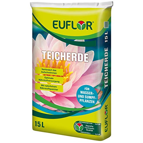 Euflor Teicherde 15 L Beutel, hochwertige Spezialerde für alle Wasser- und Sumpfpflanzen mit hohem Tonanteil, verhindert das Aufschwimmen von Pflanzen
