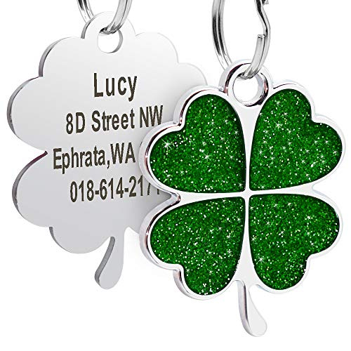 Didog Custom ID pet Tag, Glitter Clover Heart Print Personalized Tag for Small Medium Large Dogs and Cats, Green