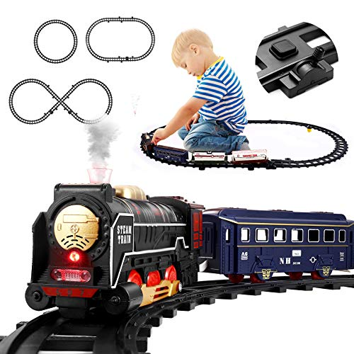 iBaseToy Steam Train Set for Kids - Electric Battery Operated Toys Train for Christmas Tree with Lights and Music, Include 4 Cars and 17 Tracks , Classic Toy Train Set Gifts for 3 4 5 Years Old