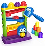 Pound a Ball Toy For Toddlers + FREE 6 Stacking Cups, Hammer and Ball Toys for 1 Year Old Boy & Girl...