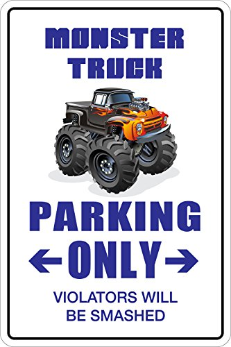 StickerPirate Monster Truck Parking Only 8' x 12' Metal Novelty Sign Aluminum NS 097