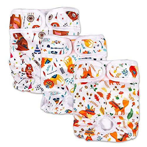 Joyshare Reusable Dog Diapers Female 3 Pack - Washable Female Diapers, Highly Absorbent Pet Diapers, Animal Style Female Doggie Diapers, Size Adjustable Durable Diapers for Girl Dogs in Period Heat