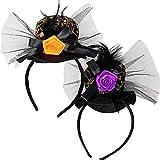Selldorado® 2x diadema sombrero de bruja de Halloween - sombrero de bruja - disfraz de halloween dam...