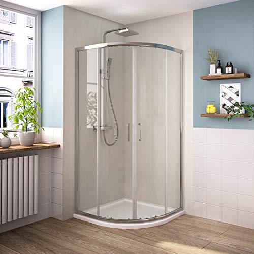 Bath-mann Duschkabine Viertelkreis 80 x 80 cm Duschabtrennung mit Rahmen 6mm ESG Nano Glas Runddusche Schiebetür Dusche Duschwand, Radius 550mm(Höhe: 195cm)