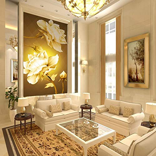 Tapetenblitz silbernes Tuch Eingangsflur Wandmalerei Hintergrund Continental Golden Rose große Wandtapete-Über 350 * 245cm 3 Streifen