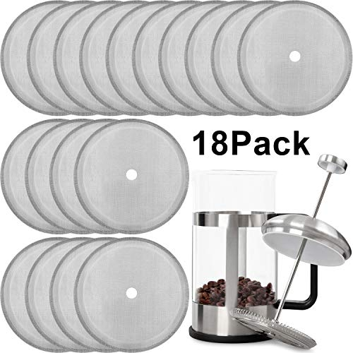 18 Packs French Press Replacement Filter Mesh Screen Coffee Press Filters Reusable Stainless Steel Mesh Filter for 8 Cup/ 34 OZ/ 1000 ml French Press Coffee Tea Makers