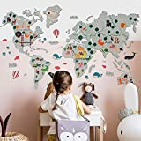 World Map for Nursery Wall Art Kids Room Decor Wall Print Nursery Decor Baby Room Prints Safari Nursery Baby Boy Baby Girl Gift Birthday Toddler