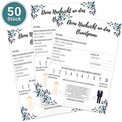 MAVANTO 50x Design Gästekarten DIN A5 Alternative zum Gästebuch - Wunderschöne Gästebuchkarten mit Fragen zum Ausfüllen (Design 1, 50 Stück)