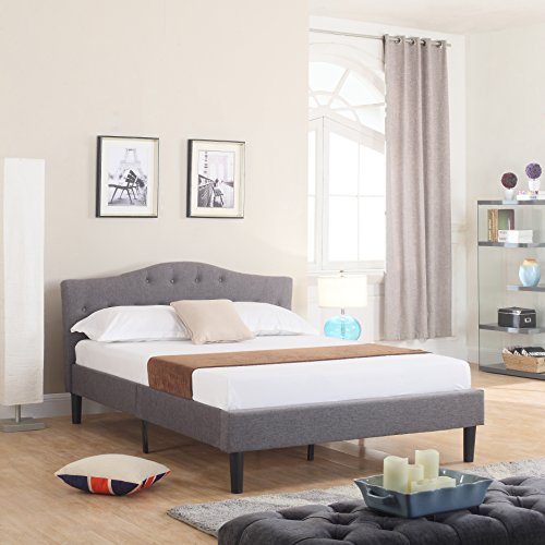 Divano Roma Furniture Tall Size Upholstered Platform Frame and Tufted Panel Headboard with Mattress Foundation and Solid Wood Slat Bed Support, Spring Needed-Box Replacement, Queen, Grey