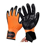 Furrykid Pet Grooming Gloves - Pet Hair Remover Gloves Premium Deshedding Gloves for Easy, Mess-free Grooming of Dogs, Cats, Rabbits & Horses with Long/Short/Curly Fur - 1 Pair