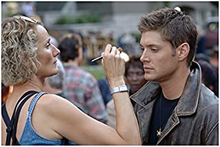 Supernatural (TV Series) 8x10 Photo Jensen Ackles Getting Touch Up from Makeup Lady Pose 1 kn