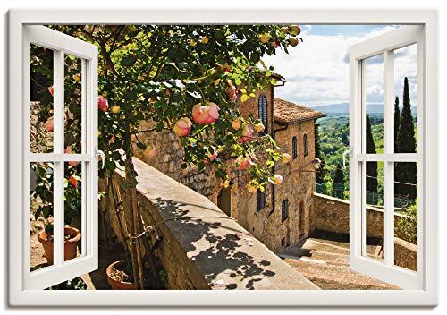 Artland Leinwandbild Wandbild Bild auf Leinwand 100x70 cm Wanddeko Fensterblick Fenster Toskana Landschaft Garten Rosen Balkon Natur T5QC