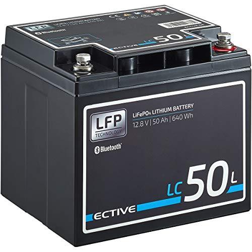 ECTIVE LC50L BT 12V 50Ah 640Wh LiFePO4-Batterie mit Bluetooth-Funktion Lithium-Eisenphosphat Versorgungs-Batterie inklusive App