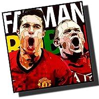 ルーニー&ファンペルシー マンチェスターユナイテッド 海外製 サッカーグラフィックアート 木製ポスター