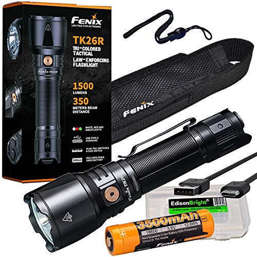 Fenix TK26R 1500 Lumen high powered USB rechargeable white/red/green LED flashlight, rechargeable battery with EdisonBright brand battery carry case bundle