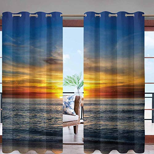 Outdoor Curtains Waterproof, Privacy, Sun Blocking Textured Sunset Over Pacific Ocean W108 x L96 Grommet Curtains for Patio, Pergola, Porch, Deck