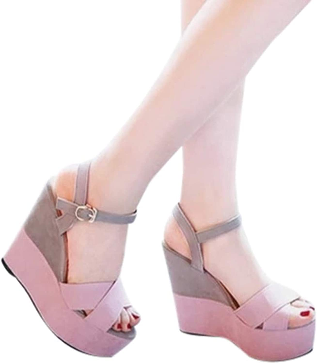 Fheaven Platfrom Sandals Women Summer Buckle Peep Toe Wedges Casual Sandals shoes Non-Slip (7, Pink)