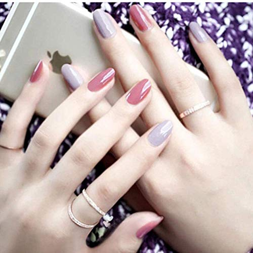 CSCH Faux ongles Coffin False Nails Long Fake Nails Ballerina False Nail Tips Full Cover Stick on Nails 24pcs for Women and Girls(Pink&Grey)