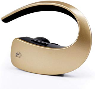 Bluetooth Wireless Handsfree Earpiece In Ear Noise Cancelling Headset HD Stereo Earbuds with Built-in Microphone for Business/Office/Workout/Travel/Drivers - Gold