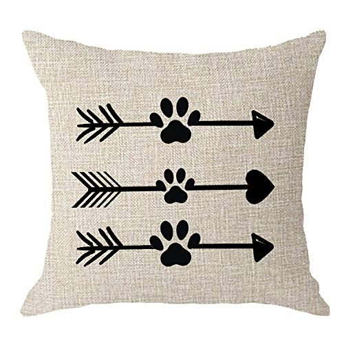 NIDITW Dogs Lovers Moms Gift Nordic Simple Abstract Arrows with Dog Paw Prints Cream Body Cream Burlap Throw Pillow Case Cushions Cover Pillow Sham Sofa Decorative Square 18x18 Inches