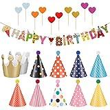 Phoetya Geburtstagsfeier Hüte und Banner Dekorationen, 11 Stück Geburtstagsfeier Hüte Schöne Party Kegel Hüte und 1 Stück Geburtstag Banner mit 10 Stück herzförmigen Kuchen...