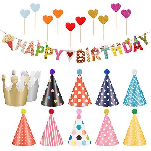Phoetya Geburtstagsfeier Hüte und Banner Dekorationen, 11 Stück Geburtstagsfeier Hüte Schöne Party Kegel Hüte und 1 Stück Geburtstag Banner mit 10 Stück herzförmigen Kuchen eingelegtes Kartenset