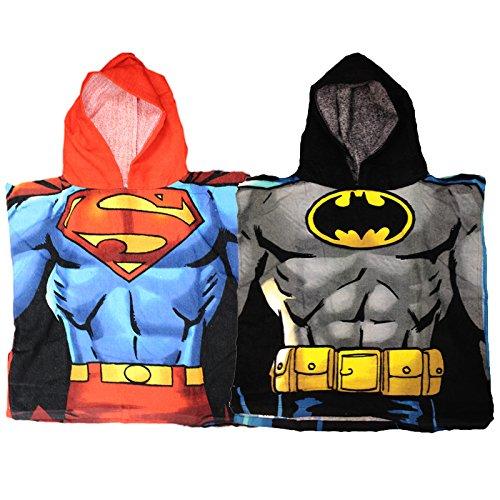 2 Pack DC Comics Batman & Superman Children's Hooded Bath Towel Poncho