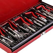 131 piezas/set Durable Thread Repair Tool Helicoil Rethread Repair Kit Garage Workshop Tool Herramienta de reparación de retroceso profesional - Negro y plata y rojo