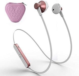 Bluetooth Auriculares, Naropox HIFI Wireless Earphone, Auriculares Inalámbricos Conjuntos con Esponja/Gancho/Estuche para Audifono, Headphone Ergonómicos, IPX6 a Prueba de Sudor para Correr, Trabajo Diario, Gimnasio (Rosa)