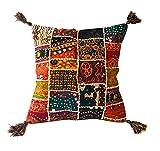 Kalakriti Funda de Cojin o Almohada Algodon Patchwork Etnico con Pompones 45x45