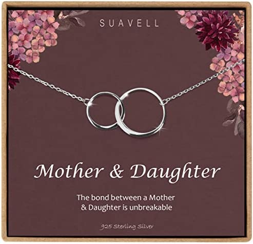 Suavell Mother Daughter Necklace Sterling Silver Necklace for Women Mom Gifts 2 Circle Necklace product image