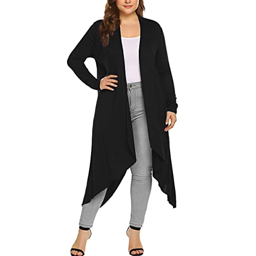 Kancystore Women Plus Size Drape Long Sleeve Cardigans Lightweight Open  Front High Low Cardigan Sweaters 00a69831a