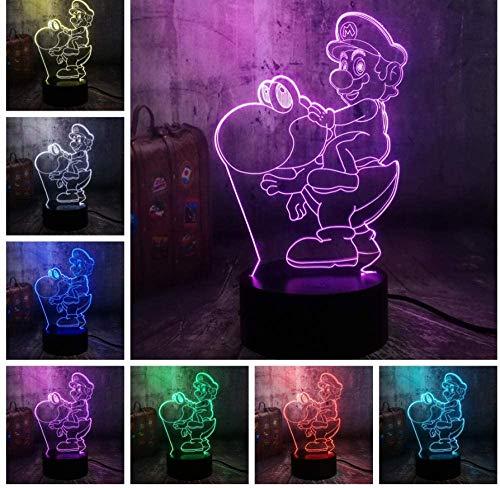 Jeu Action Figure Mignon Dinosaure 3D Led Veilleuse 7 Couleur Lampe De Table Décoration Famille Fête Enfants Jouet D'Anniversairehalloween Cadeau