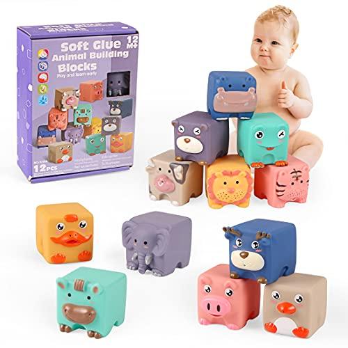 Baby Bausteine, 12PCS Weich Baby Bausteine, Baby Bausteine Spielzeug, Montessori Sensorik Spielzeug, Motorikspielzeug Bauklötze, Weiche Bausteine für Kinder