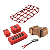FADDARE 6 pezzi RC Car Simulazione valigetta bagagli scatola di legno, pala e portapacchi, kit di rete per TRX4 Axial SCX10 / D90 90046, RC Rock Crawler