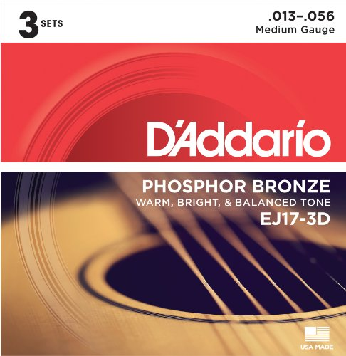 D'Addario EJ17 Phosphor Bronze Acoustic Guitar Strings, Medium (3 Pack) - Corrosion-Resistant Phosphor Bronze, Offers a Warm, Bright and Well-Balanced Acoustic Tone and Comfortable Playability