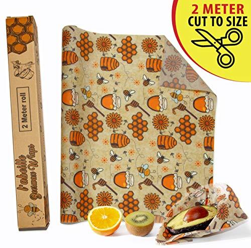 L'Abeille Bijenwas Voedsel Verpakking 2 Meter Rol - 33 x 200 cm | Herbruikbare Bijenfolie | Duurzame Voedsel Verpakking | Alternatieve Huishoudfolie | Grote Bijenwas Verpakking