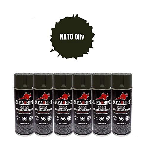 NATO Oliv 25394 Lot de 6 bombes de peinture pour peinture Vert Brit British Army US Belgique