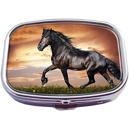 Caja de píldora cuadrada de plata de moda personalizada de caballo Funda de tableta de medicina Estuche organizador de billetera para bolsillo o monedero