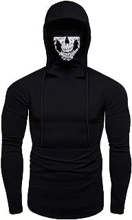 NPRADLA Mens Pure Color Pullover Long Sleeve Hooded Sweatshirt Tops Blouse Mens Mask Skull Pure Sweatshirt