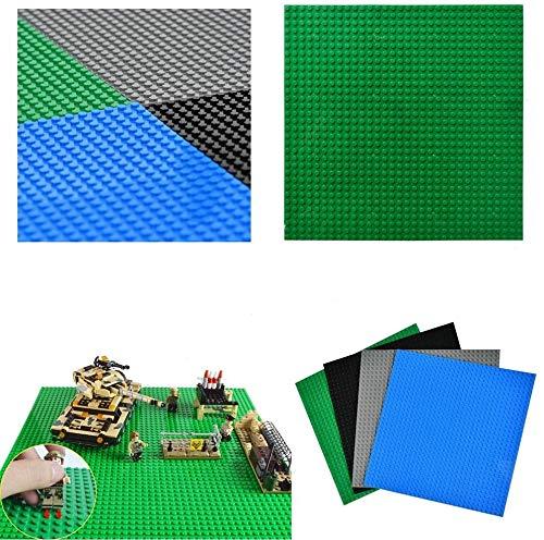 WOWOSS 4Pcs Placas Base básicas para Ladrillos de construcción, 10 '' x 10 '', Placas Base para la construcción de Torres, mesas, etc. (Negro, Gris, Verde, Azul)