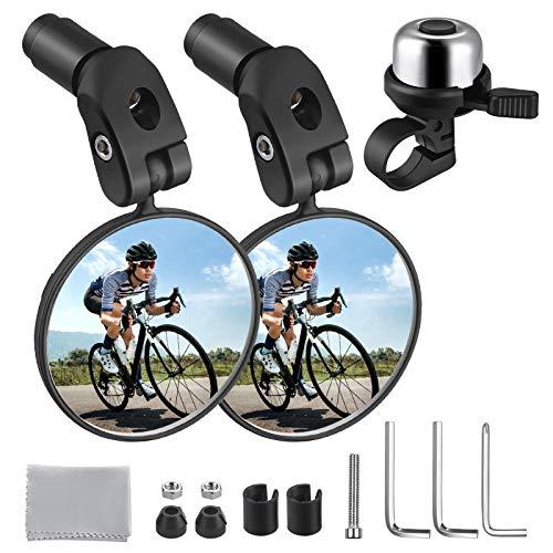 Zacro 2pcs Espejo Retrovisor de Bicicleta y Timbre para bicicleta 1pcs, 360° Adjustable para Bicicleta Manillar, Espejor Rotativo Universal y Seguro, para Carretera Montaña/Bicicleta Plegables/ Urbana