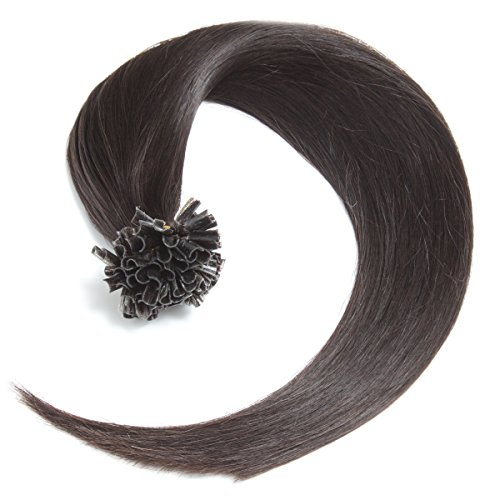 Schwarzbraune Keratin Bonding Extensions 100% Remy Echthaar Human Hair - 50 x 0,5g 45cm Glatte Strähnen - Lange Haare Keratin Bondings U-Tip Haarverlängerung Haarverdichtung - Schwarzbraun