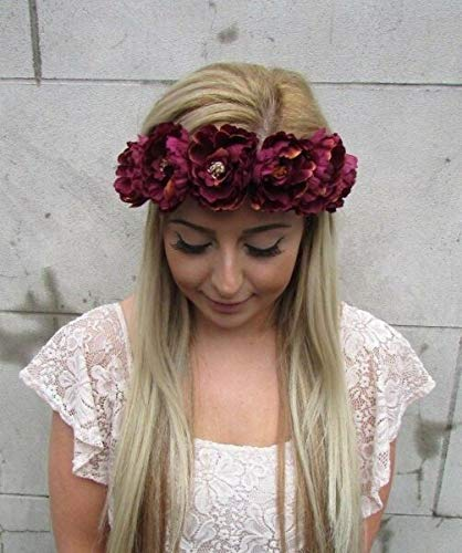 TANAMI Store Hair Accessories Supplies for Burgundy Deep Red Peony Flower Garland Headband Hair Crown Rose Festival 5112 Hair Gift for Women Girls.