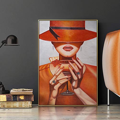 meilishop Modern Elegant Lady Canvas Painting Top Hat Girl Poster and Print Wall Art Pictures For Living Room Pasillo Studio Decoración para El Hogar HD A75 (40X50Cm) Sin Marco