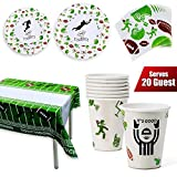 Football Party Theme Party Supplies, Super bowl Supplies,Birthday Party Supplies, 82PCS 20 LARGE PLATES, 20 SMALL PLATES, 20 NAPKINS, 2 TABLECLOTHS, football party supplies, superbowl party supplies, super bowl party supplies