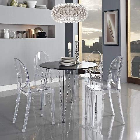 Lot de 4 chaises Transparentes Style Ghost en Acrylique Polycarbonate pour Salle à Manger, Salon, Bureau, Restaurant et Jardin, Taille: 91 * 35 * 48cm, Poids: 9kg, Transparent
