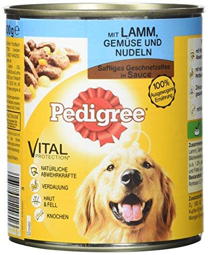 Pedigree Hundefutter Nassfutter saftiges Geschnetzeltes mit Lamm, Gemüse und Nudeln in Sauce, 12 Dosen (12 x 800g)