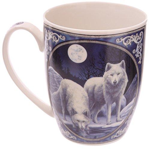 PUCKATOR MULP36–Taza de Porcelana de Pasta Blanda–Diseño de Guerreros del Invierno, de Lisa Parker–11x8,5x10,5cm–Color Azul, Blanco y Gris