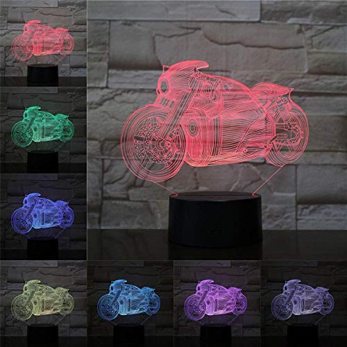 sanzangtang LED Nachtlicht 3D-Vision-Sieben Farben-Fernbedienung-Kleine Nachtlicht Motorradbeleuchtung Home Decoration Geschenk für Kinder Freunde Cool Car Series GeschenkNachtlichter für Erwachsene